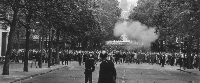 17th June 1968: French police using tear gas to disperse student rioters in Paris. (Photo by Reg Lancaster/Getty Images)